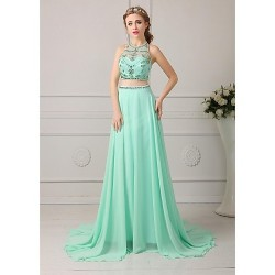 Formal Evening Dress Clover Plus Sizes Petite A Line Jewel Floor Length Chiffon