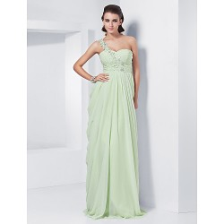 Formal Evening Prom Military Ball Dress Sage Plus Sizes Petite Sheath Column One Shoulder Sweetheart Floor Length Chiffon