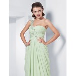 Formal Evening / Prom / Military Ball Dress - Sage Plus Sizes / Petite Sheath/Column One Shoulder / Sweetheart Floor-length Chiffon Special Occasion Dresses