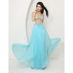 Formal Evening Dress - Pool Plus Sizes / Petite A-line V-neck Floor-length