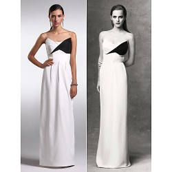 Formal Evening Dress White Plus Sizes Petite Sheath Column Strapless Floor Length Chiffon