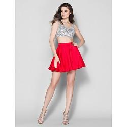 Cocktail Party Dress Ruby Plus Sizes Petite A Line Straps Short Mini Satin Chiffon
