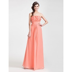 Wedding Party Formal Evening Dress Watermelon Plus Sizes Petite Sheath Column Strapless Floor Length Chiffon