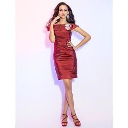 Cocktail Party Dress - Burgundy Plus Sizes / Petite Sheath/Column Off-the-shoulder Short/Mini Taffeta