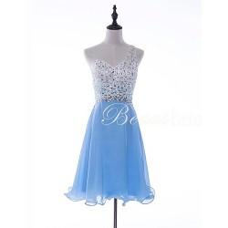 Cocktail Party Dress - Sky Blue A-line One Shoulder Short/Mini Chiffon