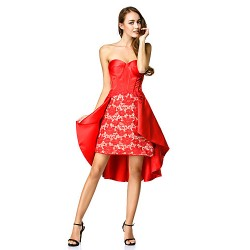 Cocktail Party Dress - Ruby A-line Sweetheart Asymmetrical Lace / Satin