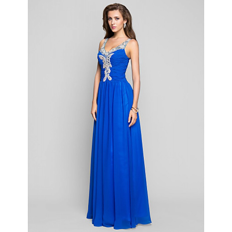 Formal Evening Prom Military Ball Dress Ocean Blue