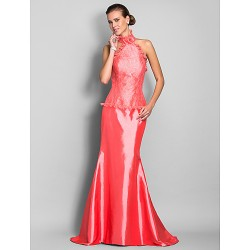 Military Ball Formal Evening Dress Watermelon Plus Sizes Petite Trumpet Mermaid High Neck Sweep Brush Train Lace Taffeta