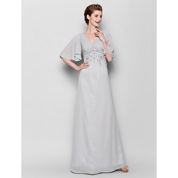Sheath/Column Plus Sizes / Petite Mother of the Bride Dress - Silver Floor-length Half Sleeve Chiffon Mother Of The Bride Dresses