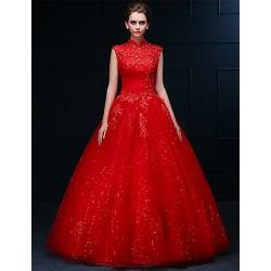 A Line High Neck Floor Length Wedding Dress (Tulle)