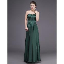 Dress Dark Green Sheath Column Sweetheart Floor Length Lace Charmeuse