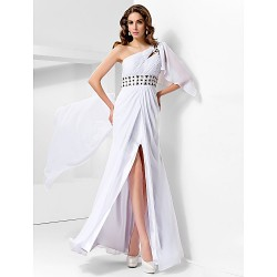 Formal Evening Prom Military Ball Dress White Plus Sizes Petite Sheath Column One Shoulder Floor Length Chiffon