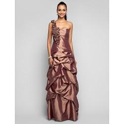 Prom / Formal Evening / Military Ball Dress - Brown Plus Sizes / Petite Sheath/Column One Shoulder Floor-length Taffeta