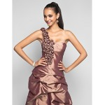 Prom / Formal Evening / Military Ball Dress - Brown Plus Sizes / Petite Sheath/Column One Shoulder Floor-length Taffeta Special Occasion Dresses