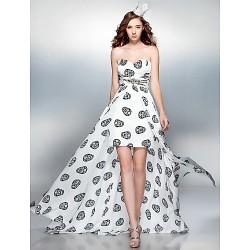 Cocktail Party Prom Dress Print Plus Sizes Petite Sheath Column Sweetheart Court Train Chiffon