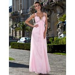Formal Evening Prom Military Ball Dress Blushing Pink Plus Sizes Petite Sheath Column Straps Floor Length Chiffon