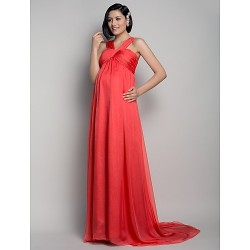 Formal Evening Dress Watermelon Maternity A Line Straps Sweep Brush Train Chiffon