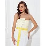 Formal Evening Dress - Ivory Plus Sizes / Petite Trumpet/Mermaid Strapless Chapel Train Satin Special Occasion Dresses