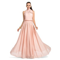 Formal Evening Prom Military Ball Wedding Party Dress Pearl Pink Plus Sizes Petite Sheath Column High Neck Floor Length Chiffon