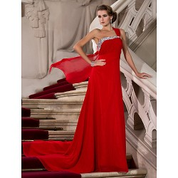 Formal Evening / Military Ball Dress - Ruby Plus Sizes / Petite Sheath/Column One Shoulder Court Train Chiffon
