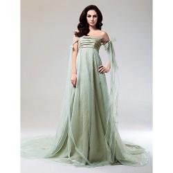 Formal Evening Dress Sage Plus Sizes Petite A Line Princess Strapless Off The Shoulder Court Train Watteau TrainOrganza