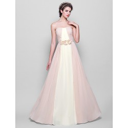 Floor-length Chiffon Bridesmaid Dress - Multi-color Plus Sizes / Petite A-line Strapless