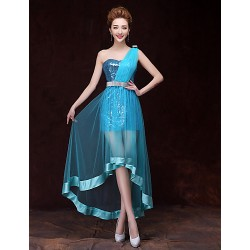 Cocktail Party Dress Sky Blue Trumpet Mermaid One Shoulder Short Mini Satin Tulle