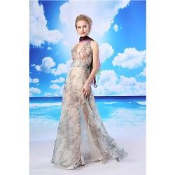 Formal Evening Dress - Multi-color A-line V-neck Floor-length Organza
