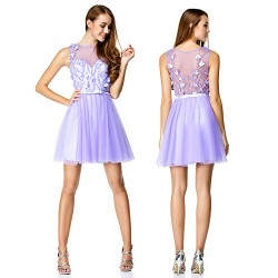 Cocktail Party Dress - Lavender A-line Bateau Short/Mini Tulle
