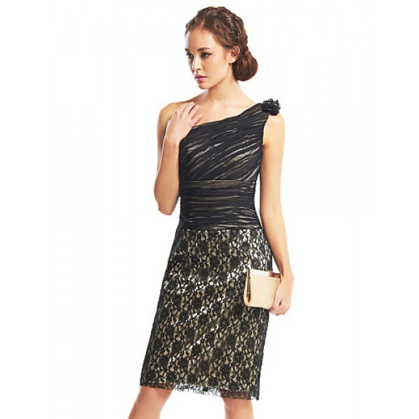 TS Couture Cocktail Party Dress - Black Sheath/Column One Shoulder Knee-length Chiffon / Lace Special Occasion Dresses