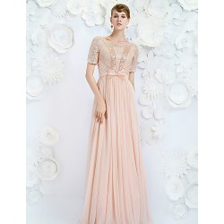 Formal Evening Dress - Pearl Pink A-line Jewel Floor-length Satin