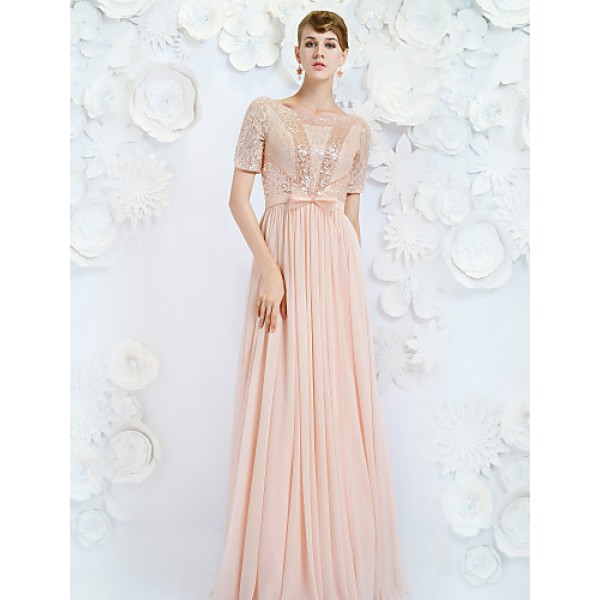 Formal Evening Dress - Pearl Pink A-line Jewel Floor-length Satin Special Occasion Dresses