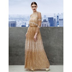 Formal Evening Dress Champagne A Line Jewel Floor Length Tulle