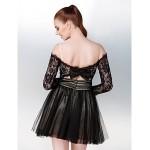 Cocktail Party / Formal Evening Dress - Black Plus Sizes / Petite A-line Off-the-shoulder Short/Mini Tulle Special Occasion Dresses