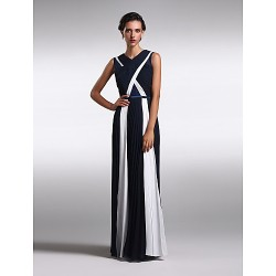 Formal Evening Dress - Multi-color Plus Sizes / Petite Sheath/Column V-neck Floor-length Chiffon / Lace