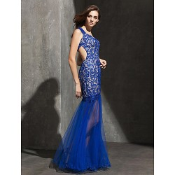 Formal Evening Dress Royal Blue Plus Sizes Petite Fit & Flare Sweetheart Floor Length Lace Tulle