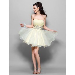 Cocktail Party / Sweet 16 / Holiday Dress - Daffodil Plus Sizes / Petite A-line / Princess Strapless / Sweetheart Short/Mini