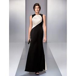 Formal Evening / Prom / Military Ball Dress - Multi-color Plus Sizes / Petite A-line Jewel Sweep/Brush Train Satin