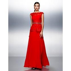 Dress - Ruby Plus Sizes / Petite A-line Bateau Floor-length Chiffon