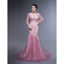 Dress - Pearl Pink Plus Sizes / Petite Trumpet/Mermaid V-neck Sweep/Brush Train Lace / Tulle