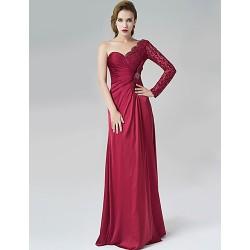 Formal Evening Dress Burgundy A Line One Shoulder Floor Length Satin