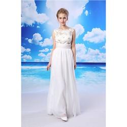 Sheath Column Formal Evening Dress White Floor Length Jewel Chiffon Lace