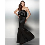 Formal Evening Dress - Black Trumpet/Mermaid Strapless Floor-length Charmeuse Special Occasion Dresses