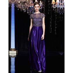 Formal Evening Dress Pearl Pink Regency Sheath Column Jewel Floor Length Lace Satin Charmeuse