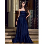 Formal Evening Dress - Dark Navy Plus Sizes / Petite A-line Strapless Floor-length Taffeta Special Occasion Dresses