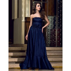 Formal Evening Dress - Dark Navy Plus Sizes / Petite A-line Strapless Floor-length Taffeta