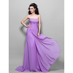 Prom Formal Evening Military Ball Dress Lilac Plus Sizes Petite Trumpet Mermaid Strapless Sweep Brush Train Chiffon