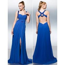 Formal Evening Dress Royal Blue Plus Sizes Petite A Line Straps Court Train Georgette