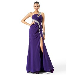 Formal Evening Prom Military Ball Dress Regency Plus Sizes Petite Sheath Column One Shoulder Sweep Brush Train Chiffon