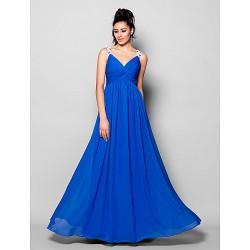 Formal Evening Dress Royal Blue Plus Sizes Petite A Line V Neck Floor Length Chiffon